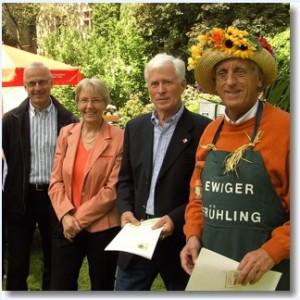 Der Vorstand des Fördervereins Landesgartenschau Wolfgang Keil (Schatzmeister), Gerda Weigel-Greilich (Zweite stellvertretende Vorsitzende), Wilfried Behrens (Vorsitzender), Axel Pfeffer (Stellvertretender Vorsitzender)